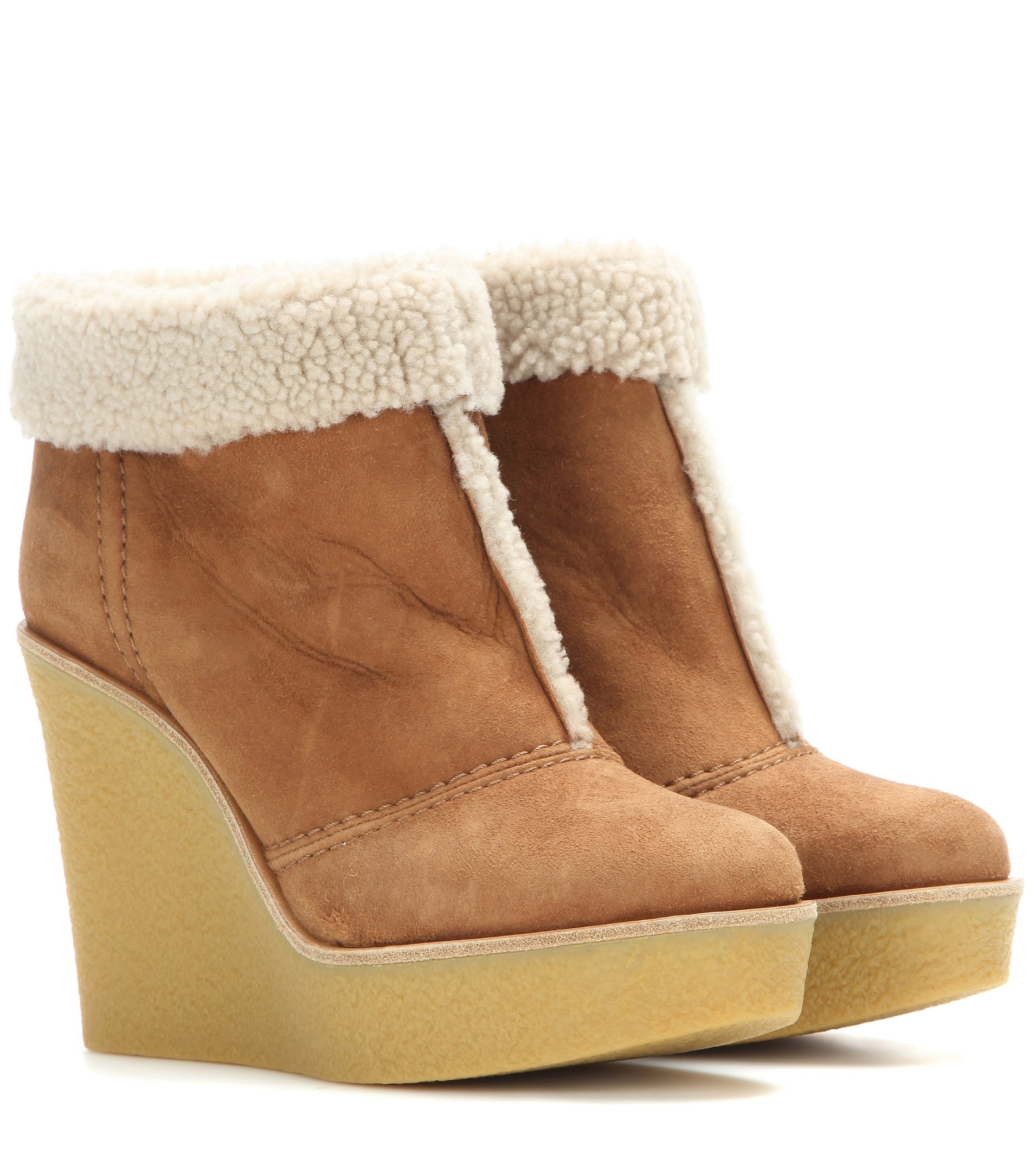 8a3fa39cd5a Chloé Suede and Shearling Wedge Boots | Jennifer Lopez Swapped Heels ...
