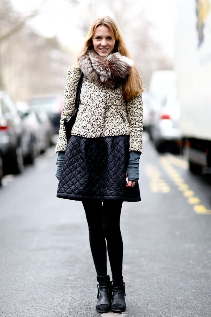 The quilting, brocade, and fur gave this showgoer's outfit an eclectic-glam feel.