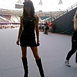 Posh Spice posed for a photo inside the Olympic Stadium. Source: Twitter user victoriabeckham