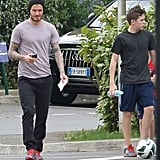 David Beckham took Brooklyn Beckham and his boys to Paris Saint-Germain training on Saturday.