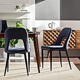 Rivet Florence Mid-Century Wide Open-Back Accent Dining Chairs