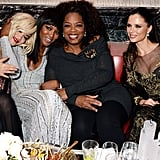 Rita Ora, Naomi Campbell, Georgina Chapman and Karen Elson partied with Oprah Winfrey at the Weinstein Company bash after the BAFTAs in London.