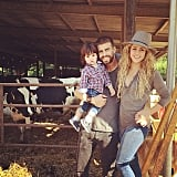Only Shakira, Milan, and Gerard would have their family pic photobombed by a cow.