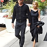 Closely-watched couple Sam Worthington and Lara Bingle stayed close after a lunch stop in NoHo, New York on Monday.