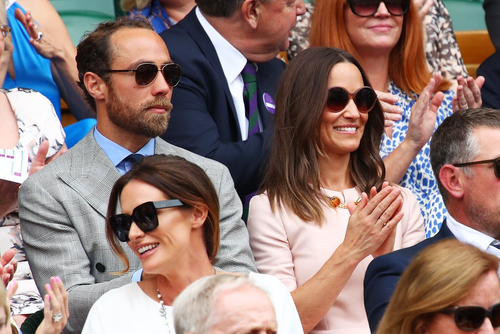 Pippa and James Middleton enjoyed some sibling bonding time as they attended Wimbledon on Monday. Pippa was pretty in a pink dress and matching hat, while her handsome younger brother donned a gray suit and his signature scruffy beard. The two were all smiles as they made their way inside and were spotted whispering to each other throughout the game. Perhaps they were sharing their thoughts on the score?  There have been so many fun celebrity sightings at Wimbledon this year, especially from the royal family. On July 2, Pippa's sister, Kate — who is an avid tennis fan — looked like she was having the time of her life as she sat in the stands, and just a few days later, Meghan Markle took a break from her maternity leave for a fun girls' day out as she cheered on her pal Serena Williams. This past weekend, the royal family joined together again as they celebrated baby Archie's christening during a private ceremony. Keep scrolling for more pictures of Pippa and James's day out.       Related:                                                                                                           Kate and Pippa Middleton Prove That a Tiara Won't Come Between Their Sisterly Bond