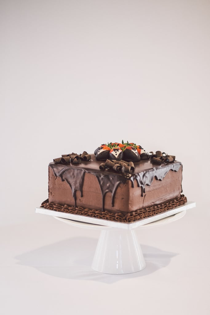 Does it get any more striking than this? Dripping chocolate and tuxedo-decorated strawberries are the two ingredients it takes to get the look of this stunning cake.