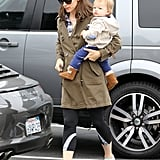 Jennifer Garner wore workout pants under her green trench coat for brunch on Thursday.