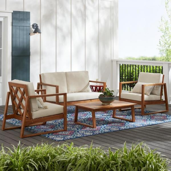 Hampton Bay Willow Glen Farmhouse Teak Wood Outdoor Patio Set