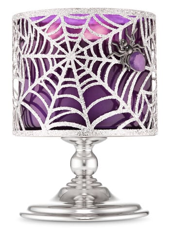 Sparkly Spider Web Pedestal 3-Wick Candle Holder
