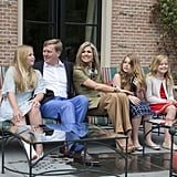 King Willem-Alexander, Queen Máxima, and Princesses Catharina-Amalia, Alexia, and Ariane at a Summer photocall.