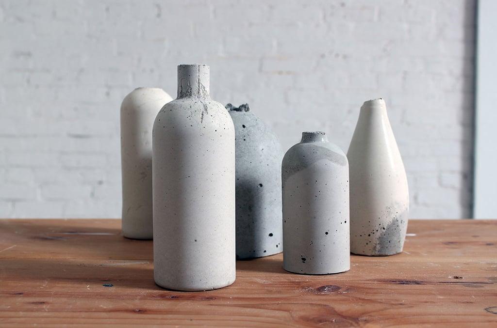 Diy Concrete Bottle Vases Flower Vase Alternatives Popsugar Home