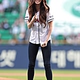 Megan Fox threw out the first pitch at a game in South Korea on Wednesday.