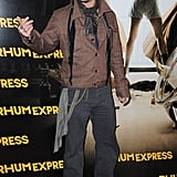 Johnny Depp posed for photos in front of his Rhum Express poster.