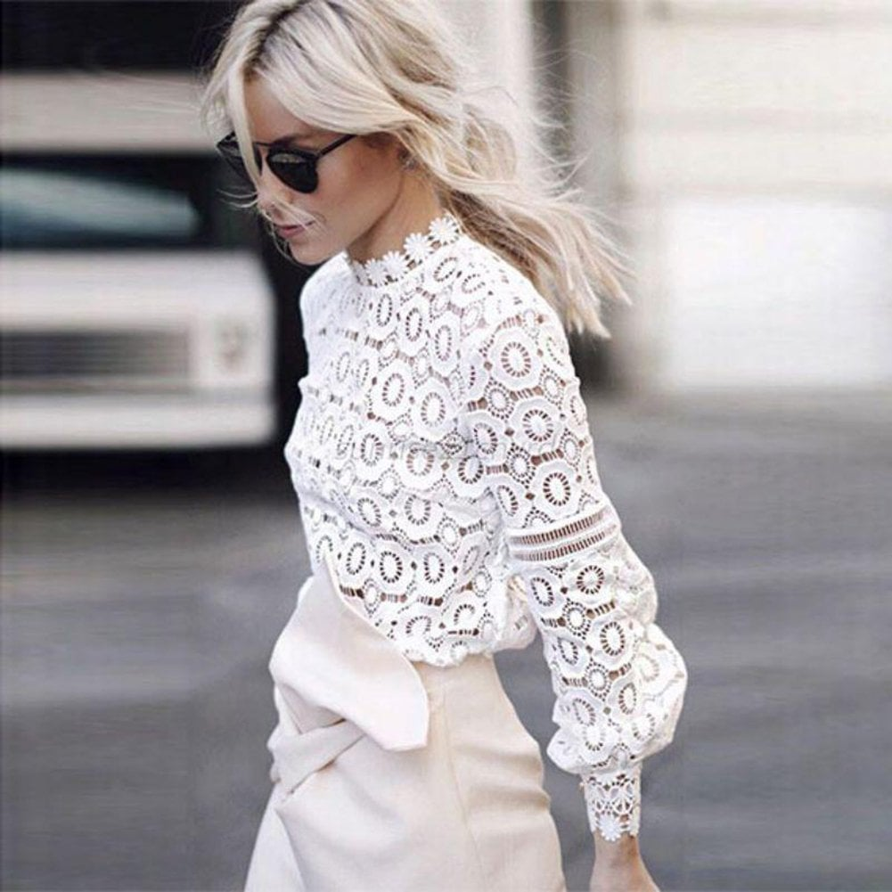 c9b367dcf897da Muyaoo Lace Blouse | White Tops on Amazon | POPSUGAR Fashion Photo 6