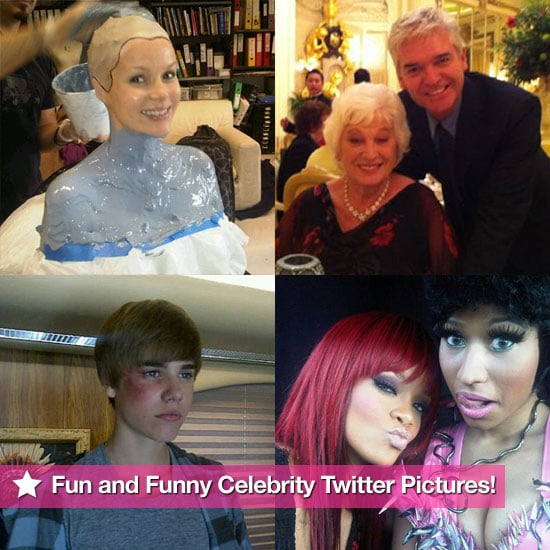 Funny Celebrity Twitter Pictures Including Pregnant Amanda Holden, Phillip Schofield, Rihanna, and Justin Bieber