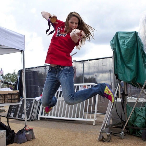 Missy Franklin showed off her jumping skills.  Source: Twitter user todayshow