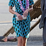 On arrival in the Solomon Islands on Sunday Sept. 16, Kate donned a blue print Jonathan Saunders Evelyn cotton dress.