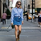 Style It With a Blue and White Striped Blouse and Leopard-Print Boots