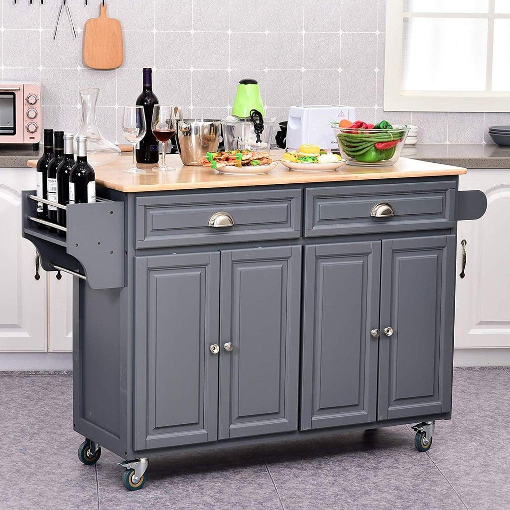Homcom Rolling Oak Wood Drop Leaf Kitchen Island Cart With Storage And Butcher Block Grey Talkingbread Co Il