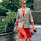 Draw attention to a textured flat with a plaid blazer, or any contrasting print.