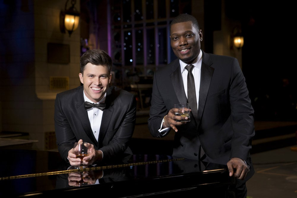 SATURDAY NIGHT LIVE -- Season:43 -- Pictured: (l-r) Colin Jost, Michael Che -- (Photo by: Mary Ellen Matthews/NBC)