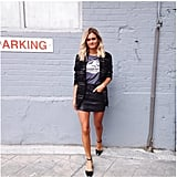 A Leather Skirt, Tee, and Blazer