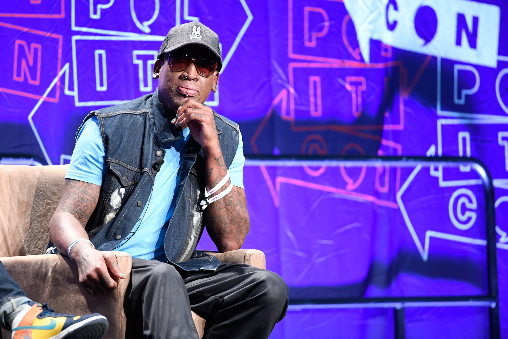 LOS ANGELES, CA - OCTOBER 20:  Dennis Rodman speaks onstage at Politicon 2018 at Los Angeles Convention Center on October 20, 2018 in Los Angeles, California.  (Photo by Michael S. Schwartz/Getty Images)