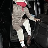 Sacha Baron Cohen hopped out of a car to attend a Halloween party dressed as a monkey.