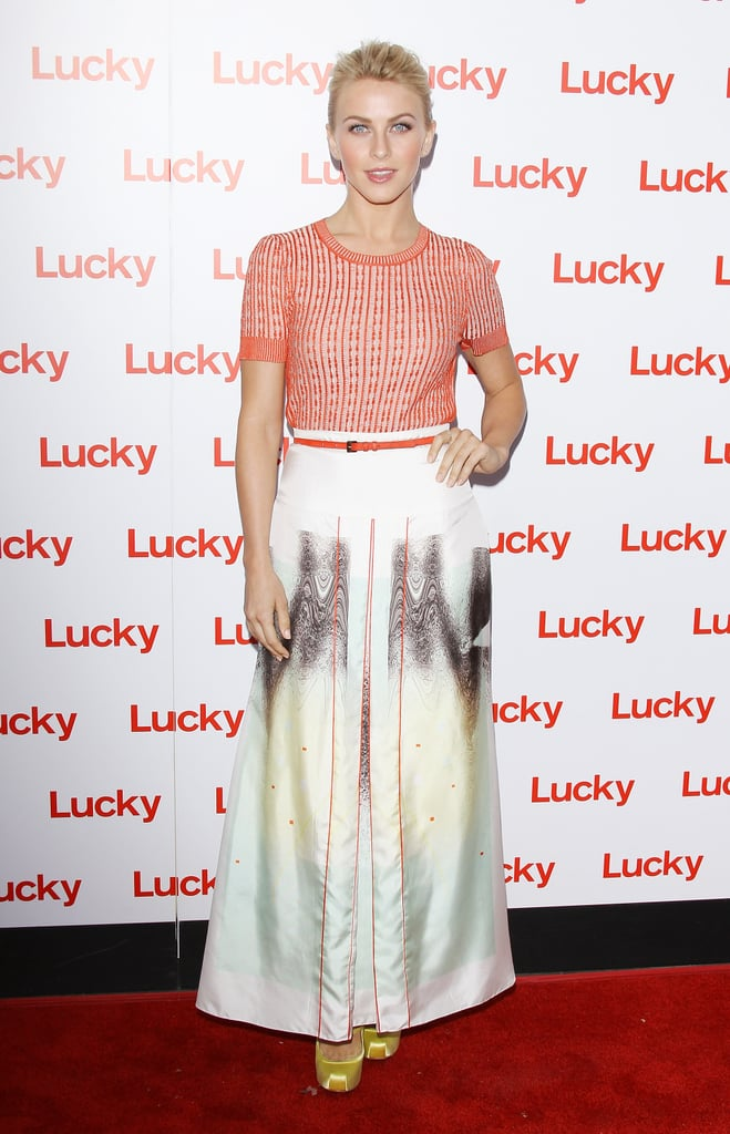 Julianne Hough paired an electric-orange Carolina Herrera top with a long printed skirt, also by the designer, which created one of the freshest Spring looks we've seen this season. To finish it all off, she added a pop of yellow via her Vivienne Westwood Anglomania pumps.