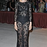 "While the peekaboo lace trend is nothing new, we're seeing it with renewed eyes thanks to Laetitia Casta. Her black Dolce & Gabbana gown hit in all the right places and while you can see her ""underwear,"" there's something sweetly demure about it too."