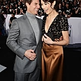 Tom Cruise and Olga Kurylenko shared a laugh at the Oblivion premiere in Hollywood.