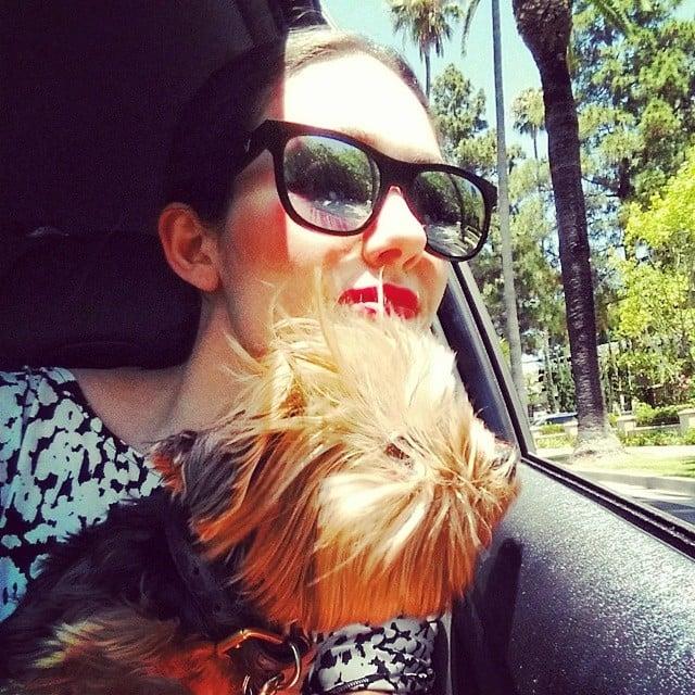 Emmy Rossum enjoyed the warm weather with her dog, Cinnamon. Source: Instagram user emmyrossum