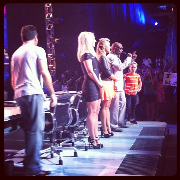 The X Factor posted a cool photo of Britney Spears, LA Reid, Demi Lovato and Simon Cowell. Source: Instagram user thexfactorusa