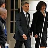 Michelle Boarded the Flight in Her Wrap Dress