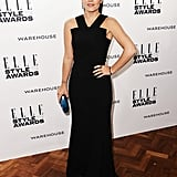 Clearly taking a totally different route from her BAFTAs colour splash, Lily Allen added splash of Chanel colour to her black Roland Mouret dress