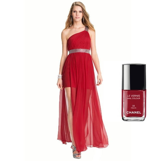 Who says bridesmaids can't be bombshells? Full-on reds, like JS Boutique One Shoulder Gown ($198) and Chanel Le Vernis in Pirate ($27), make a smoldering pair.