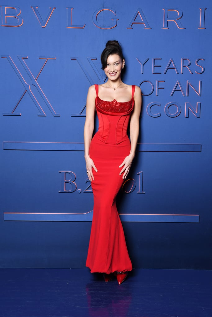 Bella Hadid Red Versace Dress February 2019