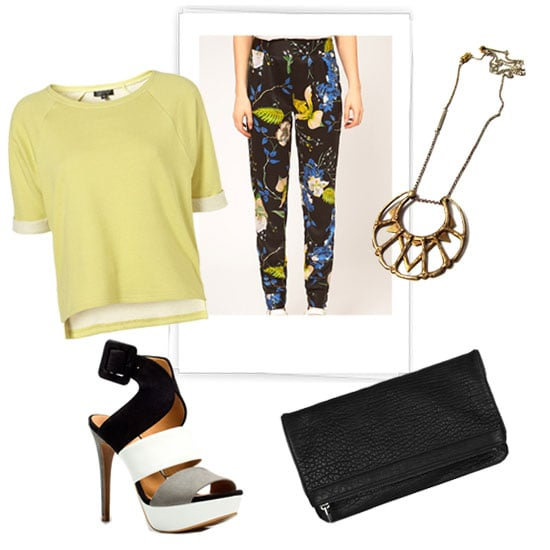 For a Spring-appropriate evening ensemble, don sleek heels, a lemon-hued tee, and quirky jewelry to offset the loud trouser print. Vila Oriental Floral Printed Pants ($63) Zara Wide Strap Sandal ($100) Topshop Crop Roll Back Sweat in Citrus ($44) Bing Bang Iroquois Moon Pendant Necklace ($155) Alexander Wang Dumbo Fold-Over Textured-Leather Clutch ($545)