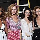 Kendall hung with her model friends Gigi Hadid, Karlie Kloss, and Jourdan Dunn, backstage at DVF.