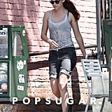 Kristen Stewart was dressed down in shorts and a tank.