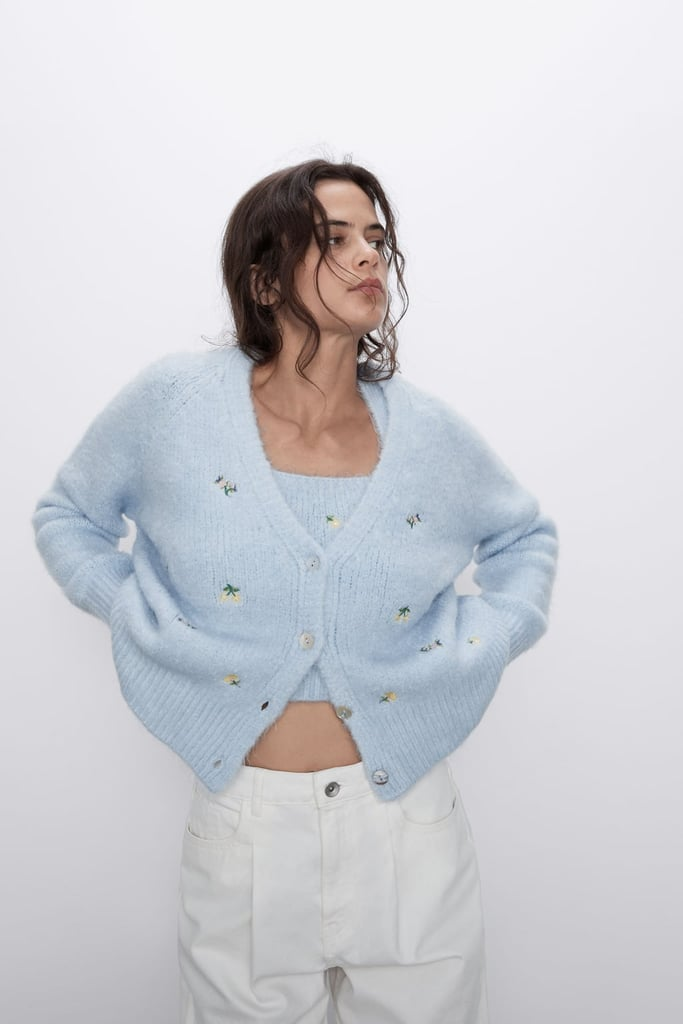 Zara Floral Embroidered Knit Cardigan