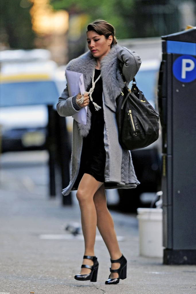 Jessica Biel walked into a meeting in NYC.