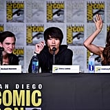 Pictured: Richard Harmon, Christopher Larkin, and Lindsey Morgan.