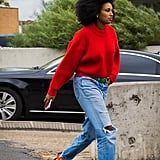 Cozy Up in a Red Sweater and Boyfriend Jeans