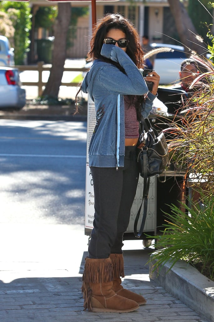 Vanessa Hudgens left a pampering session in LA yesterday with her hand over her mouth. Since splitting from long term love Zac Efron she's been having fun with her friends, celebrating her birthday in Las Vegas, and enjoying long lunches with them. Professionally, she has expressed her excitement for 2011 and her handful of movie releases.