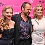 Amanda Seyfried, Peter Sarsgaard and Sharon Stone made a good-looking trio at a New York screening of their new film, Lovelace, on July 31.