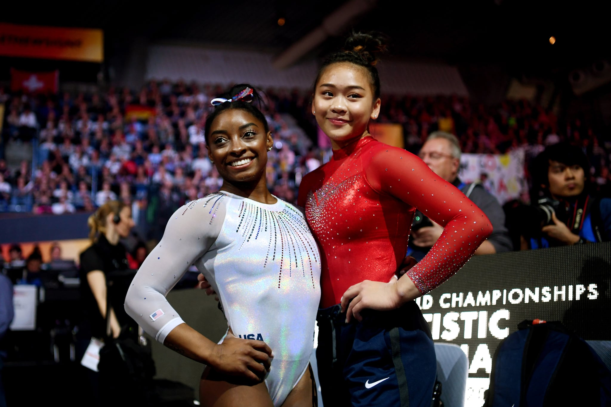 STUTTGART, GERMANY - OCTOBER 10:  Simone Biles and Sunisa Lee of USA during the Women's All-Around Final on Day 7 of FIG Artistic Gymnastics World Championships on October 10, 2019 in Stuttgart, Germany. (Photo by Laurence Griffiths/Getty Images)