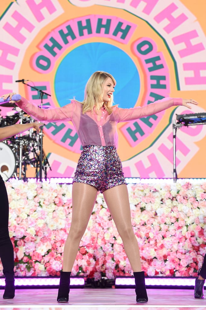 """Taylor Swift took over Good Morning America on Thursday, and it looked like a huge party. Ahead of the release of her seventh album, Lover, the singer performed some of her biggest hits, including """"Shake It Off,"""" """"ME,"""" and """"You Need to Calm Down,"""" in Central Park for hundreds of dedicated Swifties. A few of the fans actually started lining up the night before, and Swift made sure to supply them with pizza and water, courtesy of her team and father, Scott Swift. Wearing sparkly shorts and a sheer button-up shirt, Swift made sure to include a few more Easter eggs about her upcoming music as she strutted her stuff on a stage decorated with cornelia flowers.  During her appearance on the show, Swift also made a big announcement about her upcoming music. The """"ME!"""" singer confirmed that she plans to rerecord her first five albums in an attempt to own the masters to her original music. """"Yeah that's true, and it's something I'm very excited about,"""" she told Robin Roberts. """"My contract says starting from November 2020, I can start rerecording albums one through five. I think artists deserve to own their own work. It's next year — I'm gonna be busy."""" See more videos of her GMA performances ahead.       Related:                                                                                                           Taylor Swift Is Doing Better Than She Ever Was in 2019, and I'm Here For It"""