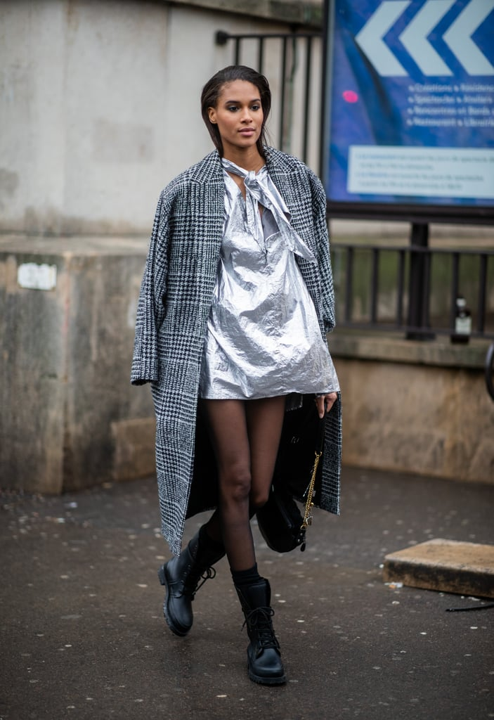 Sheer Style With a Metallic Mini and Wool Coat
