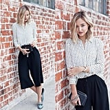 A Graphic Button-Down, Black Culottes, and Loafers